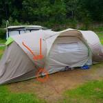 Wasserablauf am schwächsten Punkt des Zeltes