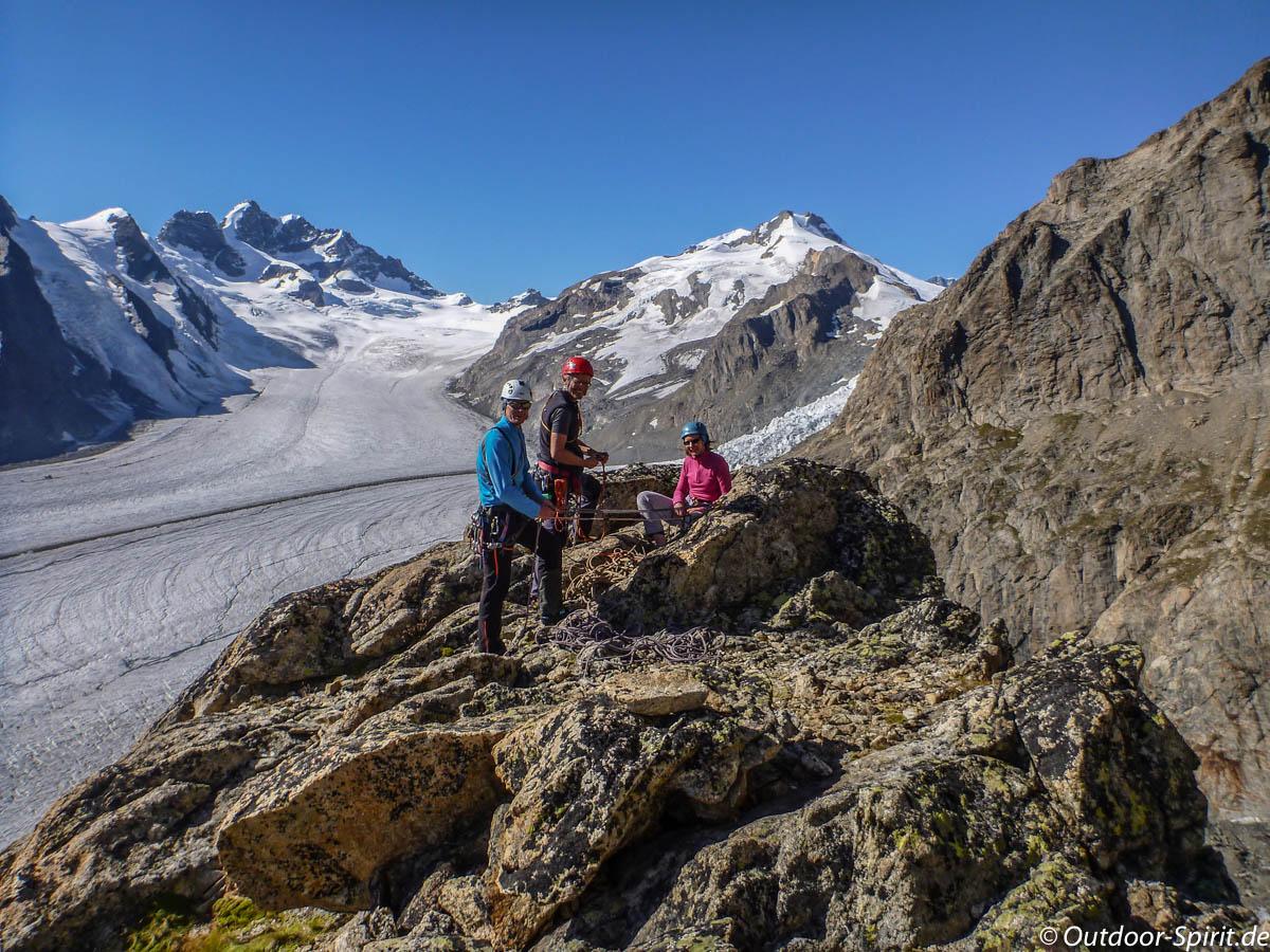 Klettern oberhalb der Konkordiahütte (Foto: Burkhard Rose)