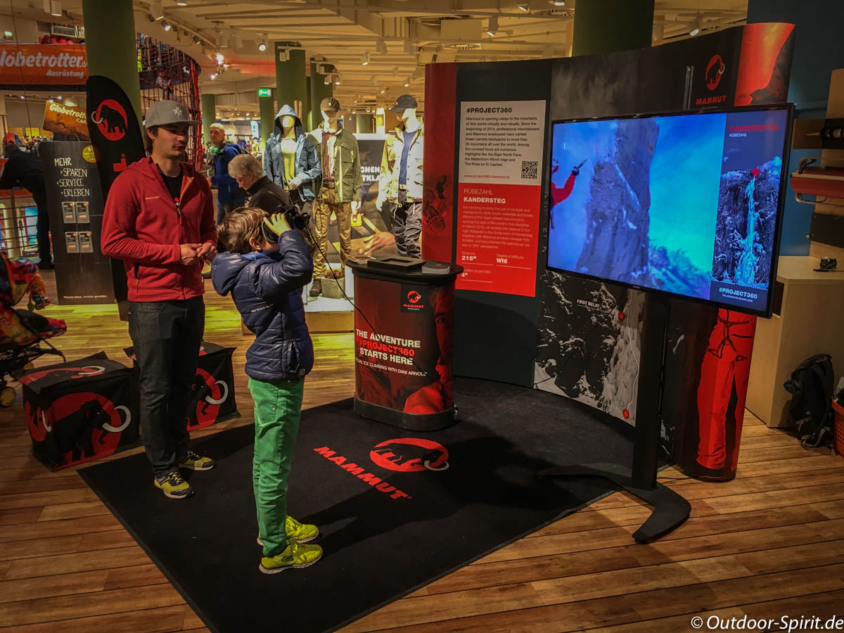 Virtuell einen Eisfall beklettern mit Mammut 360°