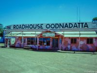 The pink roadhouse in Oodnadatta